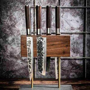 Magnetisch Messenblok walnoot met stenen voet